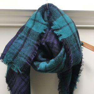 Green and Blue Plaid Blanket Scarf